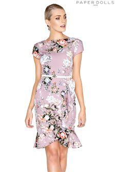 Paper Dolls Pretty Rose Flute Frill Bodycon Dress