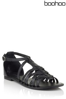 Boohoo Florence Leather Woven Gladiator Flat Sandals