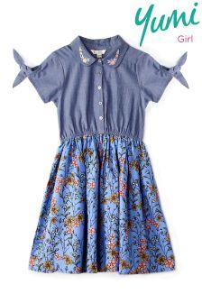 Yumi Girl Chambray French Floral Shirt Dress