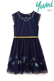 Yumi Girl Sunshine Floral Embroidered Mesh Dress