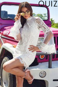 Quiz Lace Flare Sleeve Dress