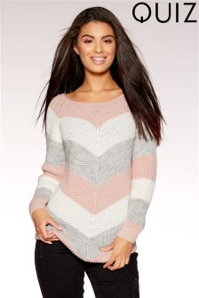 Quiz Contrast Stripe Long Sleeve Jumper
