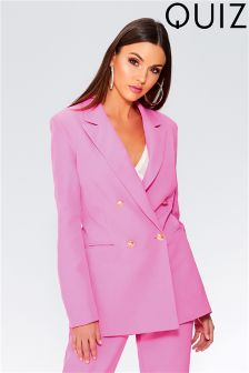 Quiz Satin Collar Double Breasted Suit Jacket