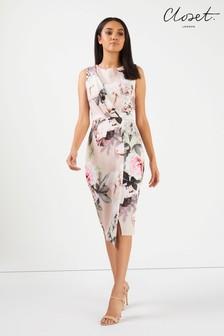 Drapowana sukienka kopertowa Closet, bez rękawów, w kwiaty