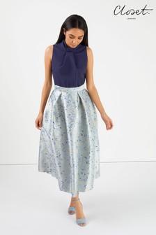 Sukienka skater ze stójką Closet, z nadrukiem