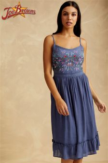 Joe Browns Strappy Sun Dress With Floral Embroidery