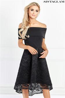 فستان متوسط الطول دانتيل متباين الأطوال من Sistaglam