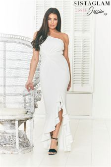 Jessica Wright One Shoulder Frill Maxi Dress