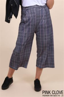 Pink Clove Plus Checked Culottes