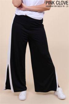 Pink Clove Plus Stripe Split Trousers