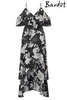 Sukienka z odkrytymi ramionami Bardot, zdobiona falbanką