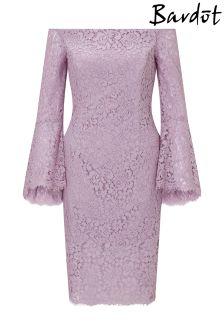 Sukienka midi Bardot, z marszczeniem