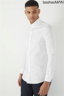 Boohoo Man Slim Fit Stretch Penny Collar Shirt