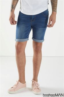 Boohoo Man Skinny Fit Washed Denim Shorts