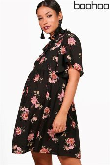 Boohoo Maternity Paige Floral Tie Neck Smock Dress