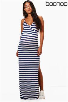 Boohoo Maternity Stripe Wrap Front Maxi Dress