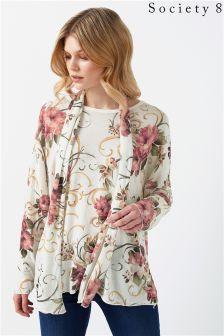 Society 8 Floral Print Tie Top