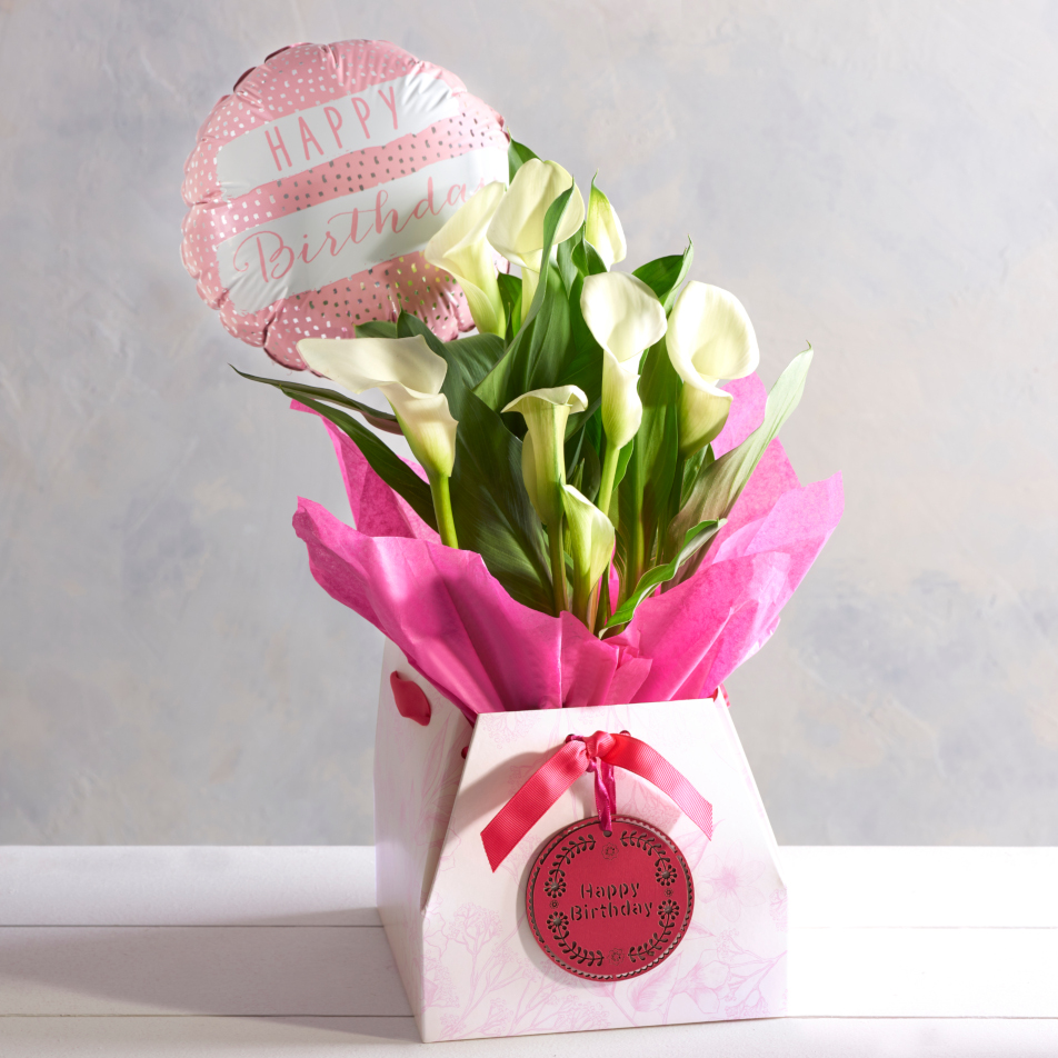 Calla Lily Birthday Gift With Chocs