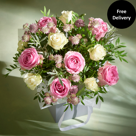 Pink flowers pink rose bouquet gift next flowers uk pearl grey gift bag large mightylinksfo