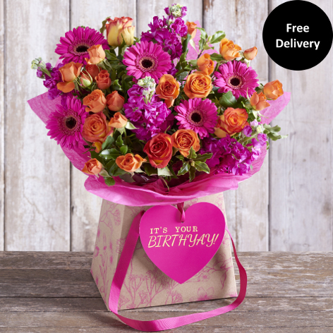 Pink flowers pink rose bouquet gift next flowers uk happy birthyay gift bag large mightylinksfo