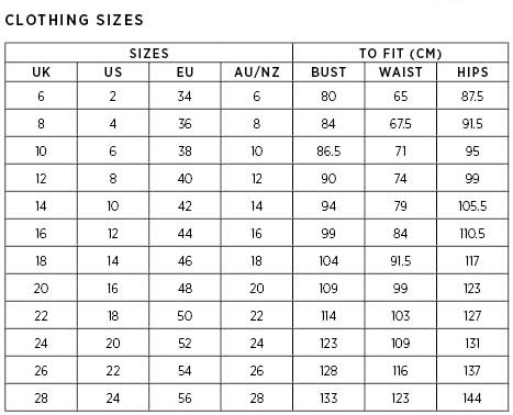 Buying clothing when on holidays can sometimes be confusing as sizes seem to vary so much from place to place. The following chart will help you to find out what Australian size is closest to the one you usually wear.